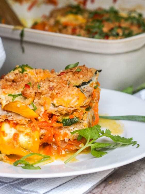 Zucchini casserole plated