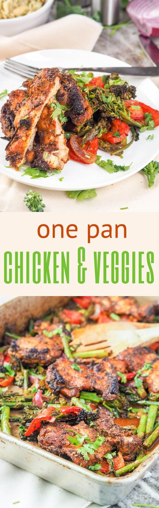 30 minute one pan chicken and veggies is the perfect low fuss easy weeknight dinner meal. Made with chicken thighs mixed with asparagus, red pepper, red onion, and broccoli. GF, DF & Paleo. #chicken #onepanmeals #paleo #glutenfree #healthy #dinner
