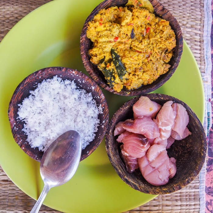 balinese spice paste, shredded coconut, and chopped tuna