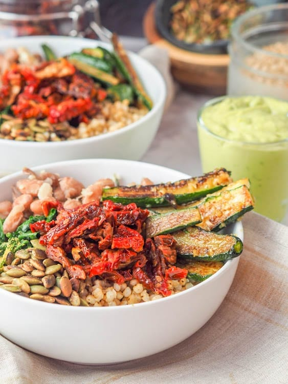 Sorghum Buddha Bowl with sauce on the side