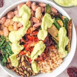 Sorghum Buddha Bowl with Veggies and Avocado Sauce {GF, Vegan}