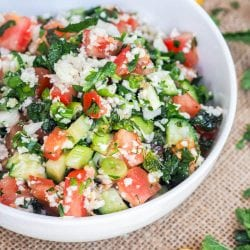Tabouli Salad with Riced Cauliflower, Tomato, Cucumber and Herbs {GF, Vegan}