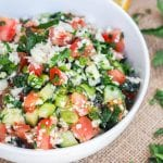 Tabouli that is low carb and gluten-free is bound to be your new favorite light summer salad. Instead of the traditional bulgar riced cauliflower is used along with tomatoes, cucumbers, mint, parsley, green onions, and walnuts. This dish is just brimming with fresh summer flavors. Vegan too!