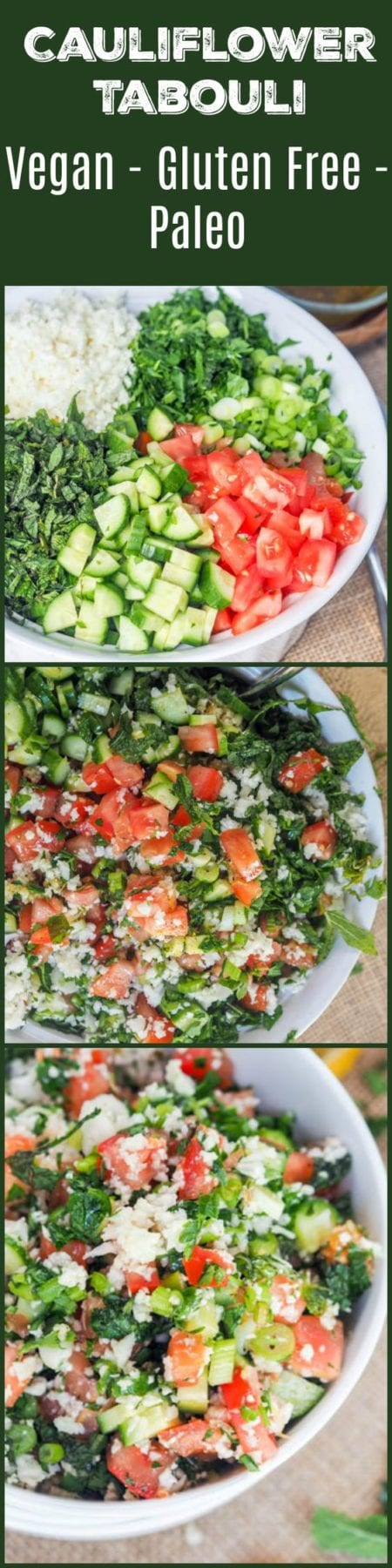 Tabouli that is low carb and gluten-free is bound to be your new favorite light summer salad. Instead of the traditional bulgar riced cauliflower is used along with tomatoes, cucumbers, mint, parsley, green onions, and walnuts. This dish is just brimming with fresh summer flavors. #Vegan too! #salad #meatlessmonday #healthy #paleo