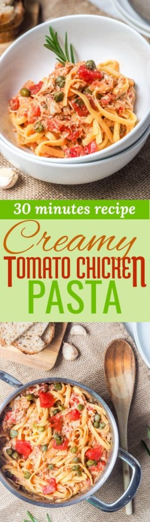 creamy tomato chicken pasta pin
