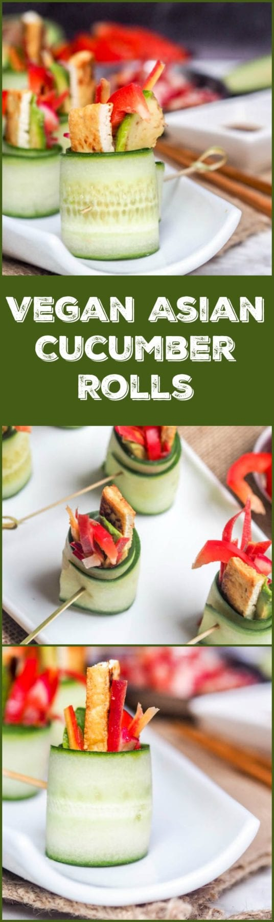Vegan Asian Cucumber Rolls are the perfect refreshing bite of tangy Asian flavors of tofu, avocados, red pepper, and lightly pickled carrots & radishes. Low carb, low cal, healthy and gluten free! #appetizers #vegan #asianrecipes
