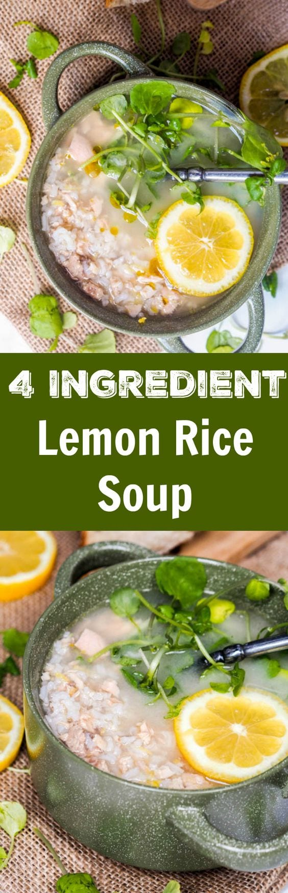 Lemon rice soup comes together in less than 30 minutes and only requires 4 ingredients + a secret ingredient to make a super flavorful quick home made broth. A healthy gluten-free and dairy-free lunch doesn't get easier than this. #soup #rice #healthy #fish #easy