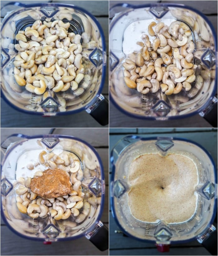 photos of the step by step blending process for the caramel cheesecake