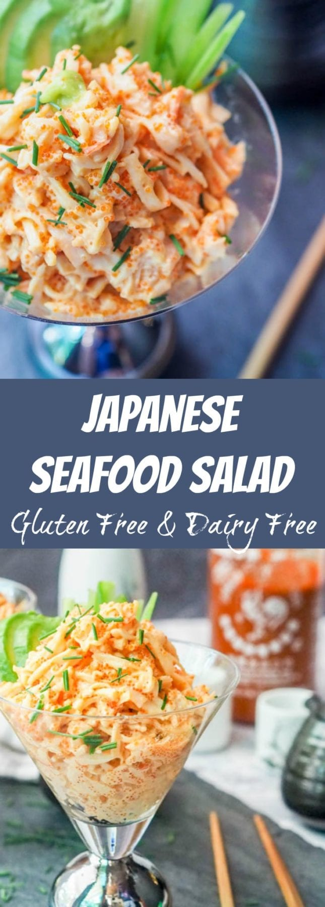 Seafood salad takes on an Asian flair and is made with crab, shrimp, tobiko and mayo with some added spice as well. Gluten-Free and Dairy-Free. A perfect appetizer to an Japanese or Asian themed meal. Ready in minutes. #salad #seafoodsalad #asianrecipe #appetizer