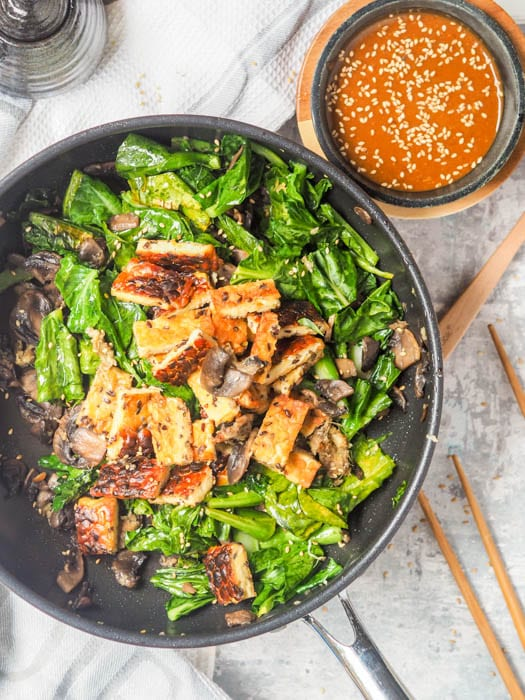 Tempeh Stir Fry with mushrooms and chinese broccoli