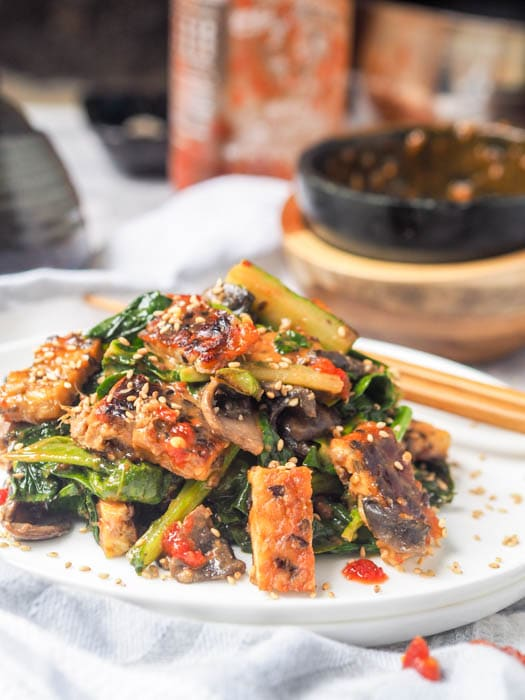 Tempeh Stir Fry plated with chopsticks