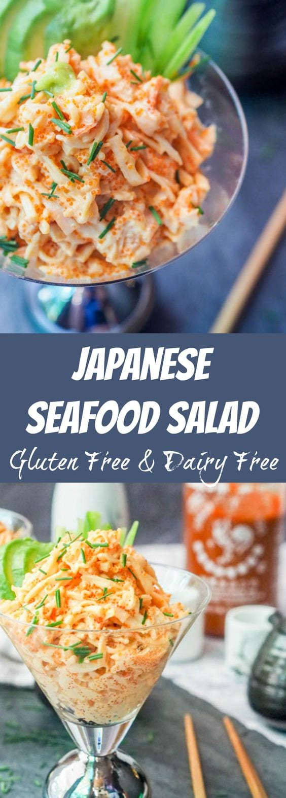 Seafood salad takes on an Asian flair and is made with crab, shrimp, tobiko and mayo with some added spice as well. Gluten-Free and Dairy-Free. A perfect appetizer to an Japanese or Asian themed meal. #dinner #salad #seafood #asian