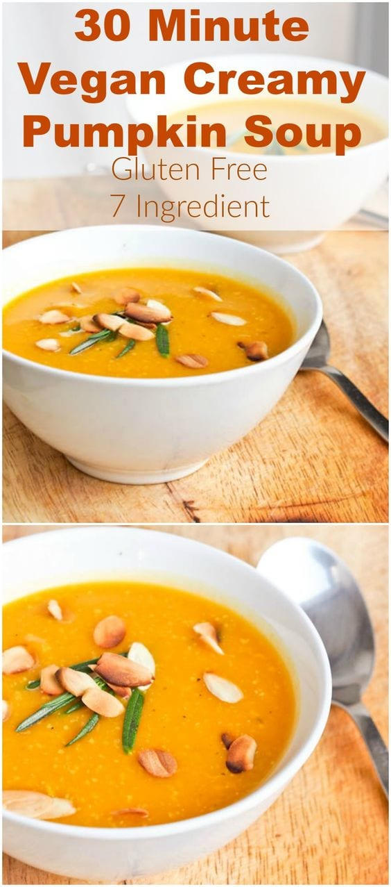 A creamy gluten free and vegan pumpkin soup recipe that requires only 7 ingredients and is ready in 30 minutes. This might just be the cure for cold winter weather. Serve sprinkled with almonds and fresh rosemary for an extra flavor kick. Simply delicious and healthy too. #soup #pumpkin #vegan #healthy #paleo #whole30