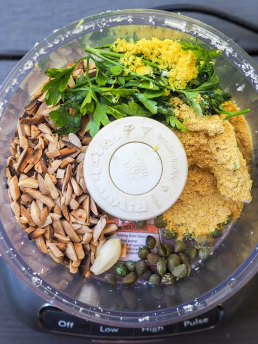 Cauliflower pesto ingredients in the food processor
