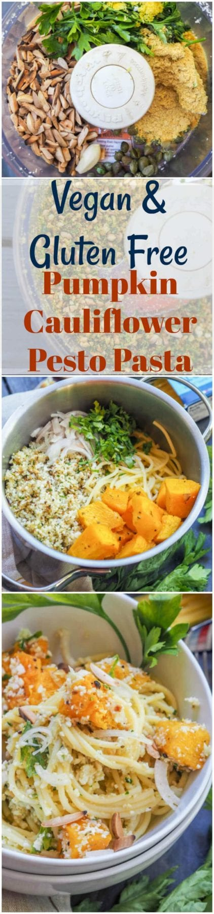 Cauliflower pasta made with roasted pumpkin and a crunchy nutty raw cauliflower pesto is bound to be your new favorite meatless vegan dinner. A hearty and healthy gluten free meal. #dinner #vegan #pasta #healthy #pumpkin