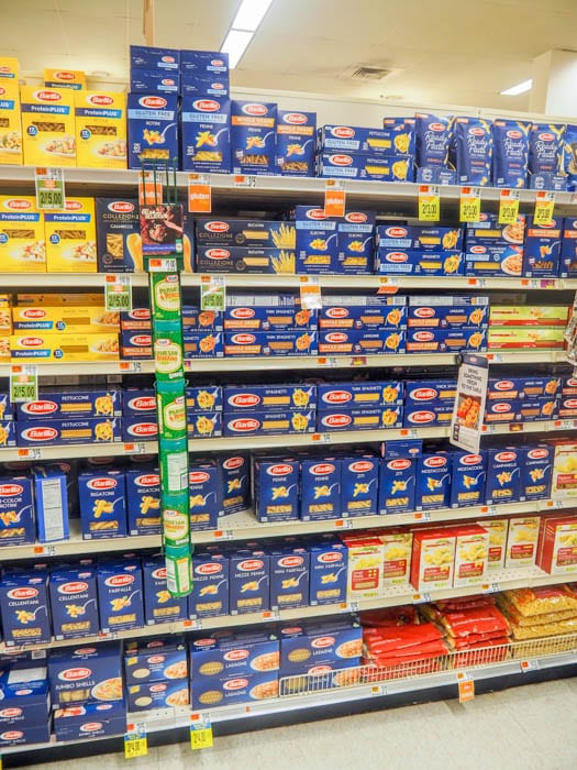 aisle showing where you can buy Gluten Free Barilla Pasta