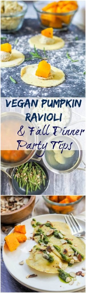 Vegan ravioli with pumpkin and herbed ricotta makes for the best fall home cooked meal. The gluten-free and vegan ravioli dough is made from scratch and then filled with rosemary roasted pumpkin and an herbed cashew ricotta.