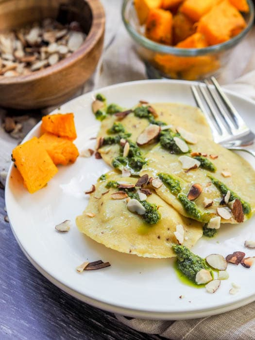 Vegan ravioli with pumpkin and herbed ricotta