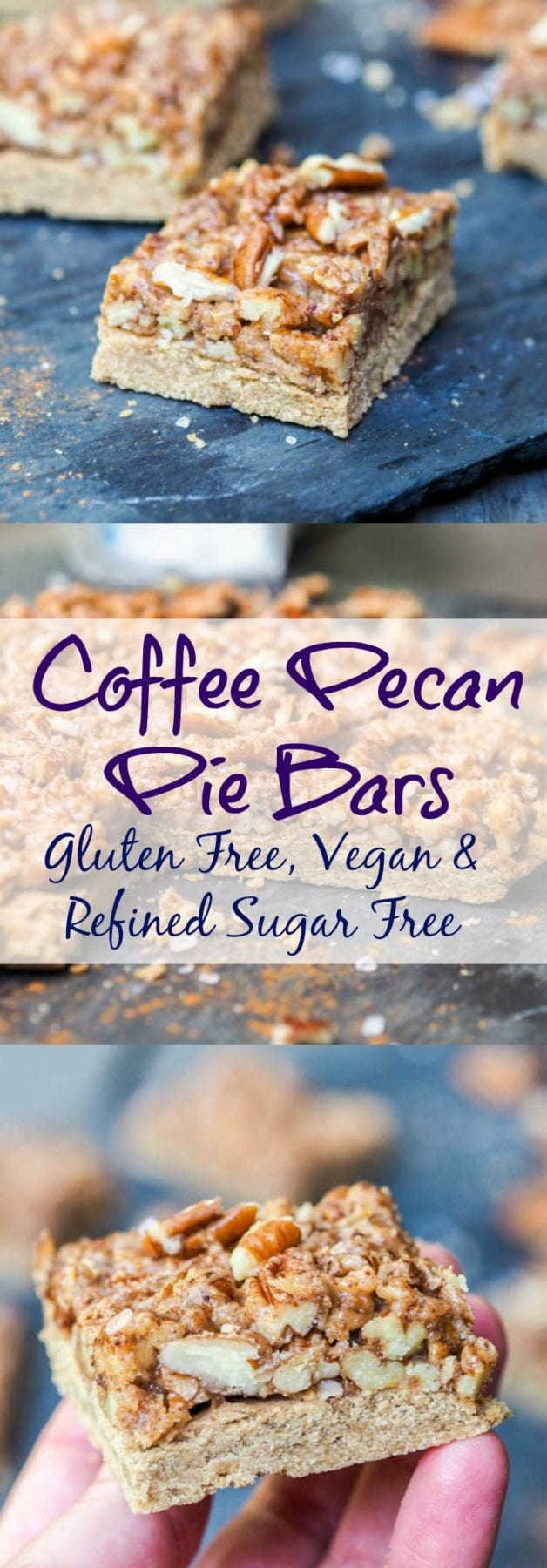 Share your love for those around you this holiday season by treating them to homemade baked goods like these vegan, gluten-free and refined sugar free Coffee Pecan Pie Bars. Made with only 7 ingredients! AD