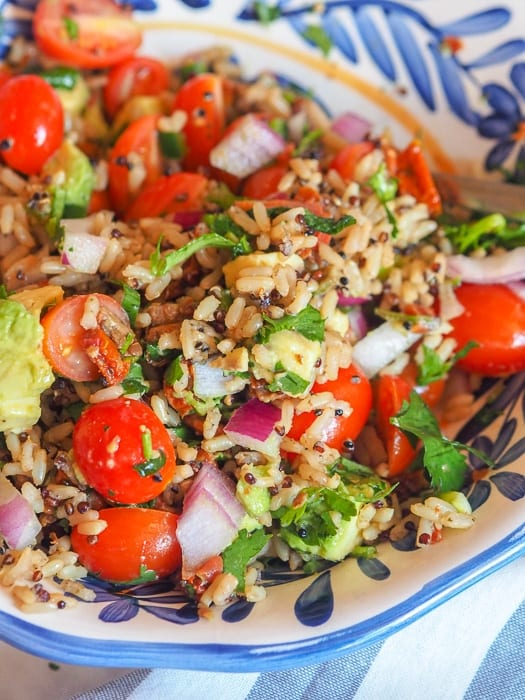 guacamole salad with brown rice and quinoa