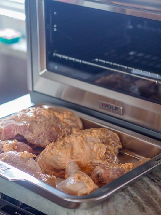 Sriracha Chicken ready to go into the oven