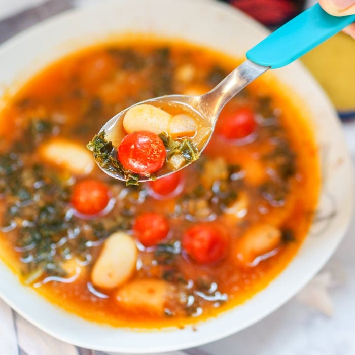 White Bean Kale Soup Avocado Pesto