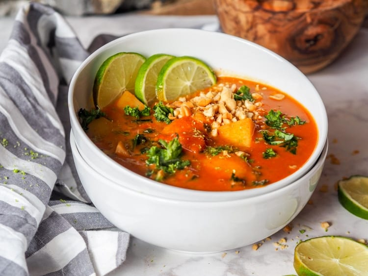 Bowl of vegan African peanut stew
