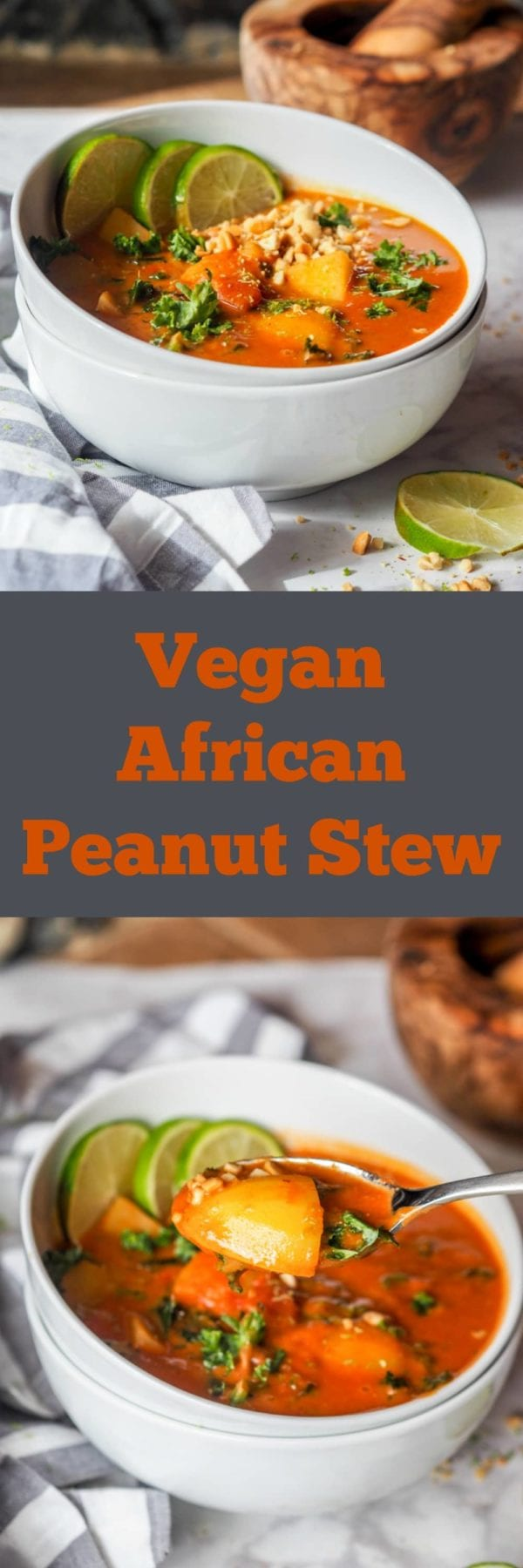 New favorite vegan plant based comforting dinner - African Peanut Stew with Potatoes and Kale. The ultimate feel good healthy recipe ready in 40 minutes.