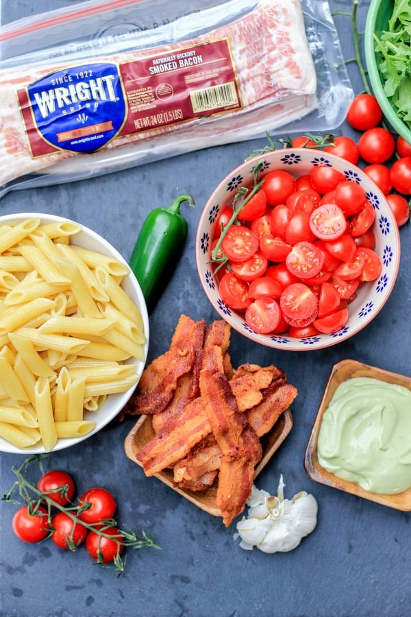 BLT pasta salad recipe ingredients_