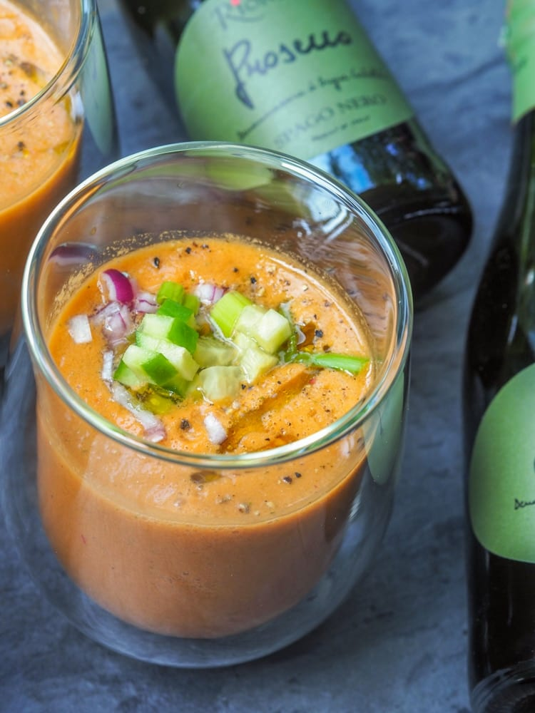 watermelon gazpacho in a glass
