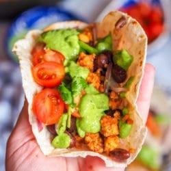 Tempeh Tacos with Creamy Avocado Cilantro Sauce
