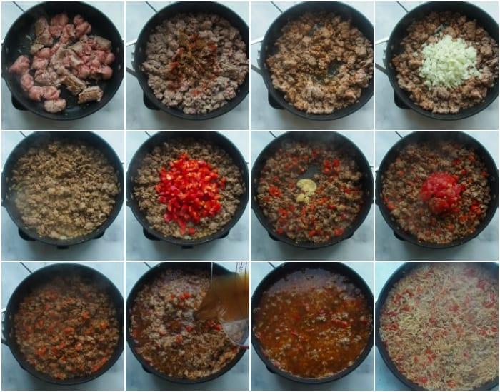 Sausage Rice step by step