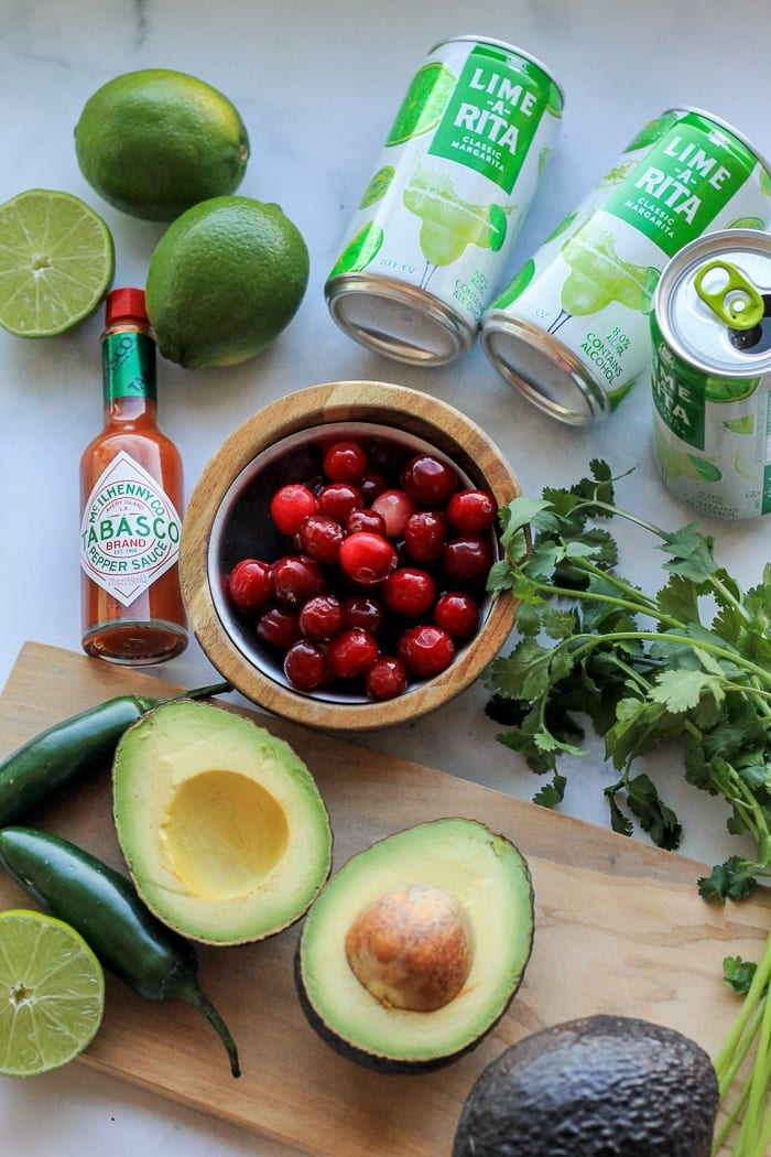 Cranberry Guac ingredients