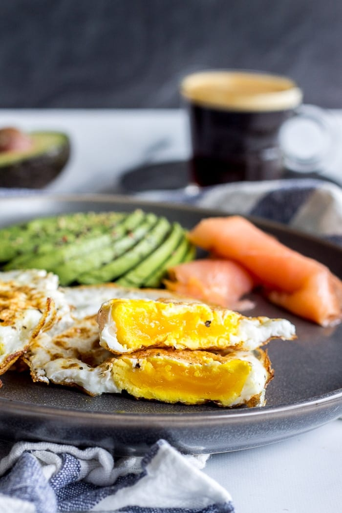 Eggs Over Hard with avocados and smoked salmon