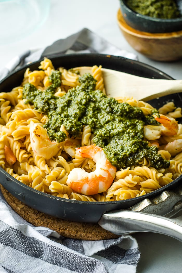 Adding Pesto to Shrimp Pasta