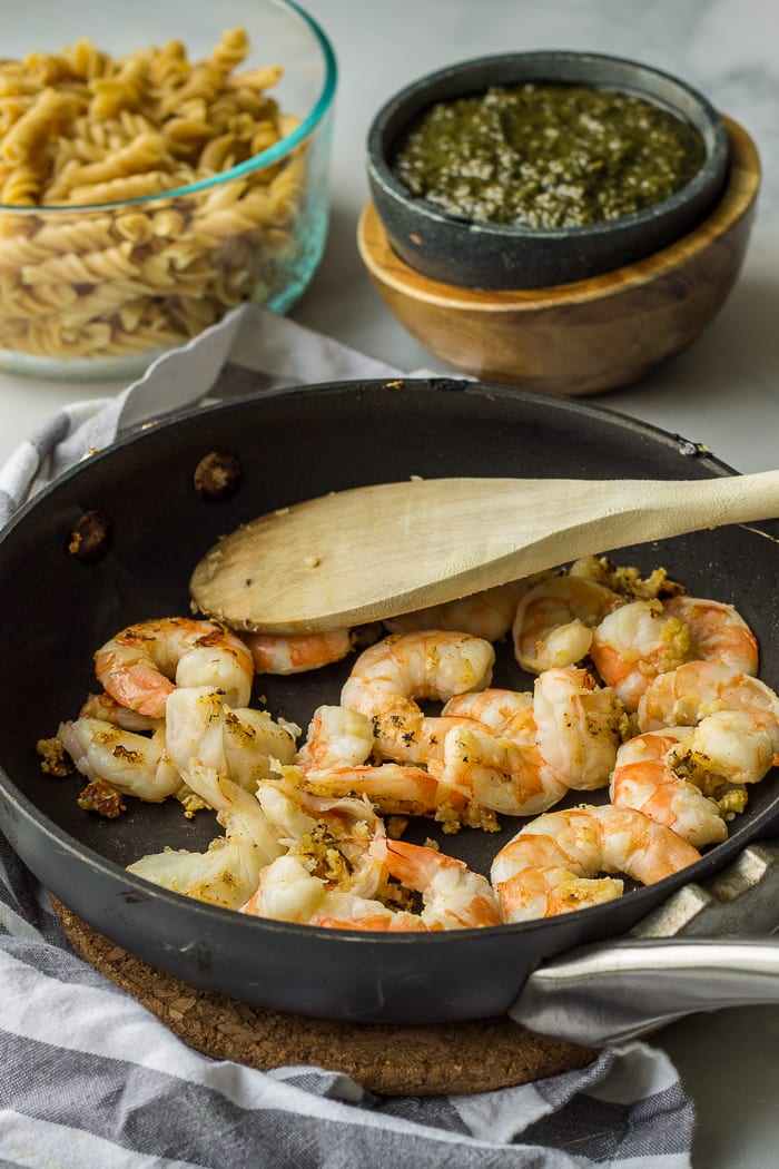 Pan Frying Shrimp and Garlic
