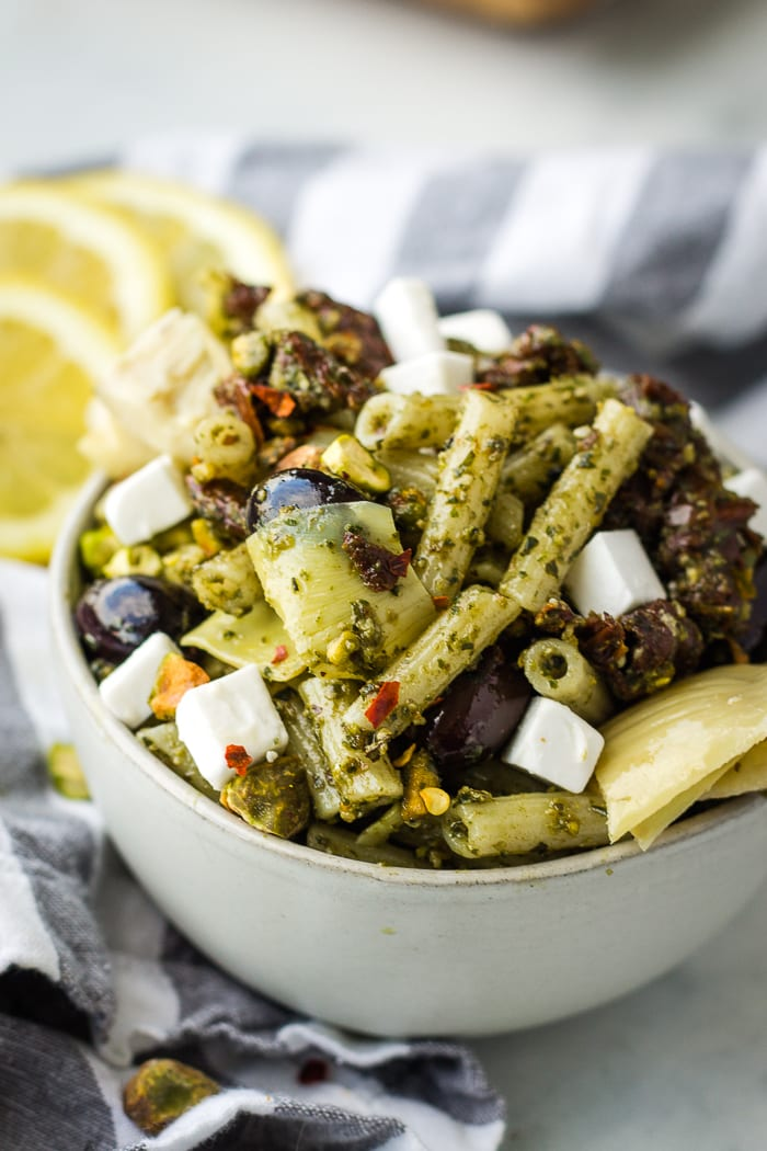 Mediterranean vegan pasta salad_