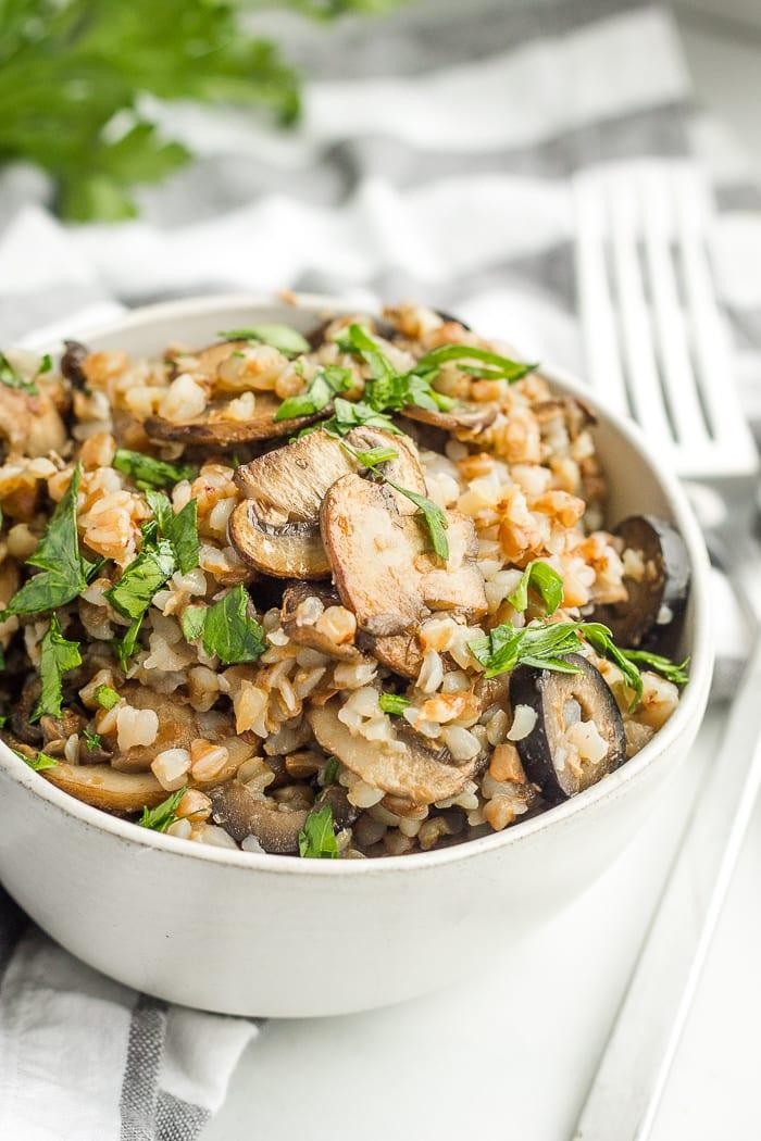Buckwheat Kasha with mushrooms and olives