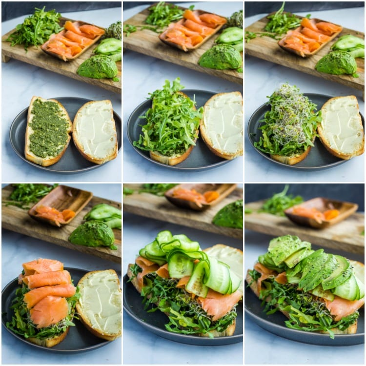 collage of step by step photos making a smoked salmon sandwich