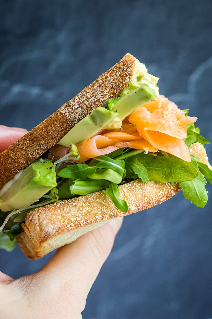 Hand held smoked salmon sandwich