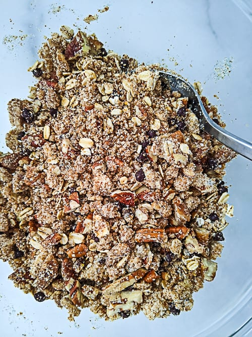 crumble ingredients mixed