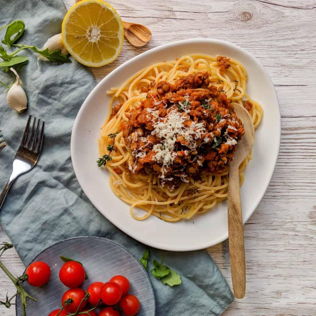 Lentil Bolognese With Spaghetti
