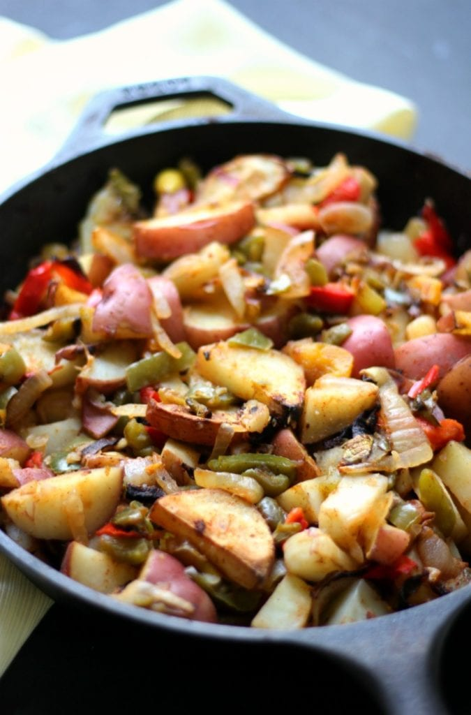 72. Roasted Skillet Breakfast Potatoes with Peppers & Onions (Gluten-Free, V, P)