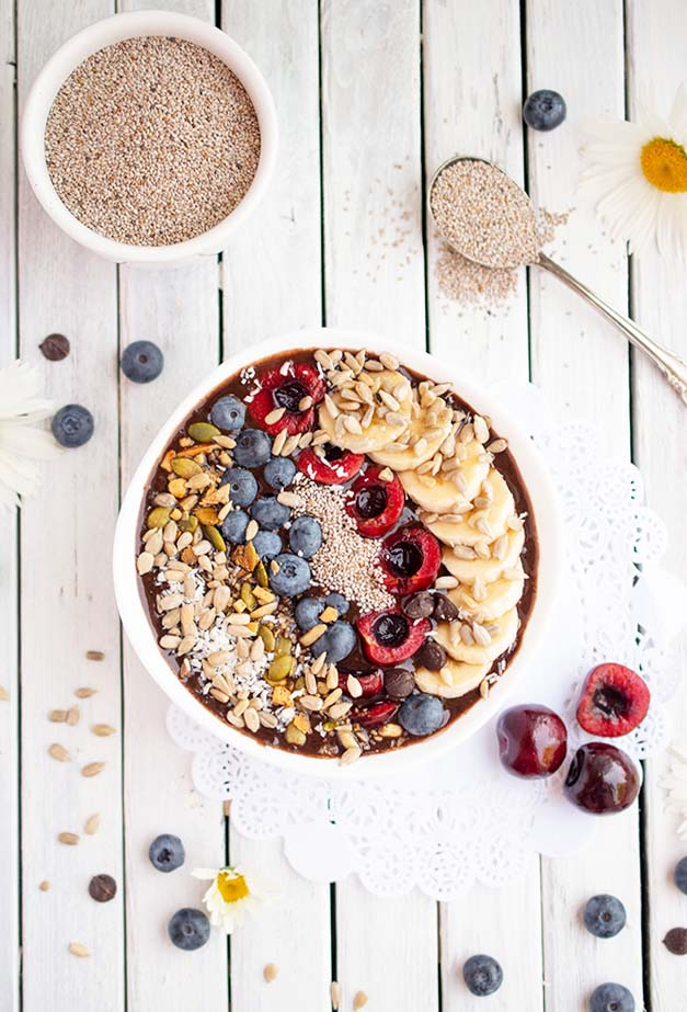 Vegan Chocolate Cherry Smoothie Bowl Recipe